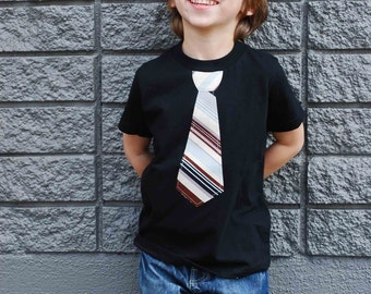 BLACK fine Jersey T-shirt with a Burgundy  neck tie applique ........... COMFORTABLE  and TRENDY  kids shirt