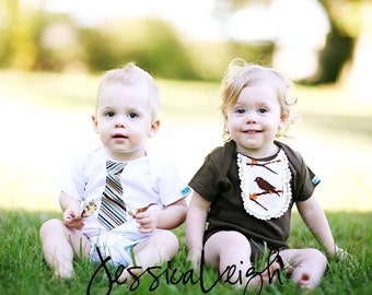 TWINS GIFT SET...............Necktie and Vintage Bib  appliqued Short Sleeve Bodysuits ............Makes a great baby shower gift