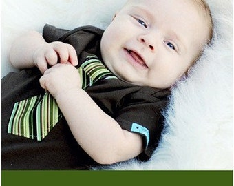 ON SALE / Green striped Necktie appliqued on Brown long sleeves baby bodysuit / Great baby shower gift