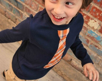 ORANGE PLAID NECKTIE appliqued  on comfy rib tee........ Trendy and cool style for boys. ....Great church, wedding, birthday outfit