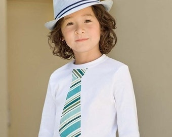 NECKTIE APPLIQUÉ LAPT.....Aqua and green stripes necktie  appliqued on white or black lap tee....Great and easy outfit idea