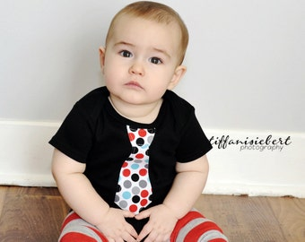 RED and BLACK NECKTIE appliqued on a black / white  baby bodysuit........Great  birthday, wedding or church outfit
