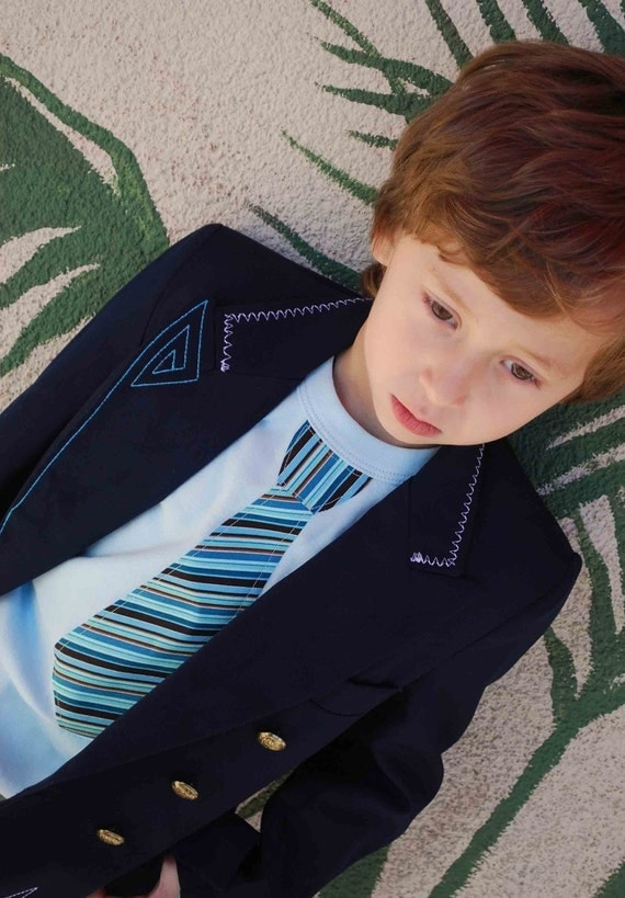 BLUE STRIPED NECKTIE appliquéd on a light blue rib tee....Cute and comfortable kids shirt.