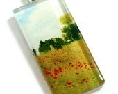 Glass Tile Pendant-Claude Monet Woman Child In Poppies Field Hill 2x1