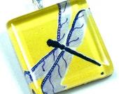 Glass Tile Pendant Dragon Fly Purple Yellow