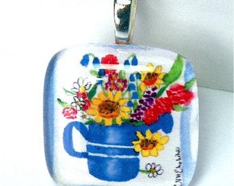 Sunflower Watering Can Original Art Signed Pendant