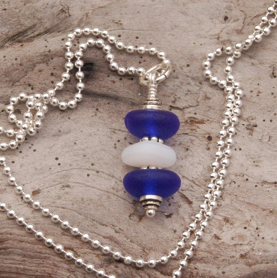 Cobalt and White Seaglass Stack Pendant