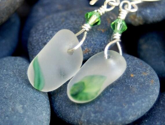 White Sea Glass Art Glass Earrings