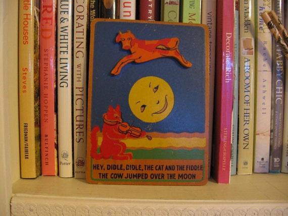 Vintage wall plaque - Hey Diddle Diddle