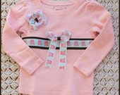 Little Owl Ribbon Tee and Hairbow Size 3T SALE 1/2 OFF