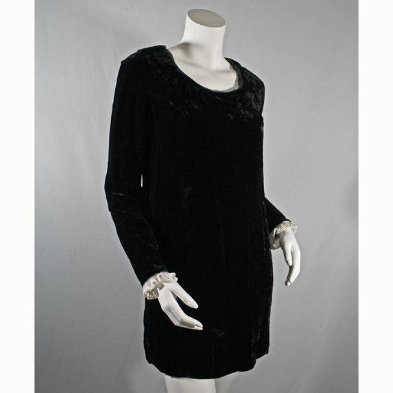 60's Vintage Black Velvet Marianne Faithfull Lolita Ruffle Mini Dress