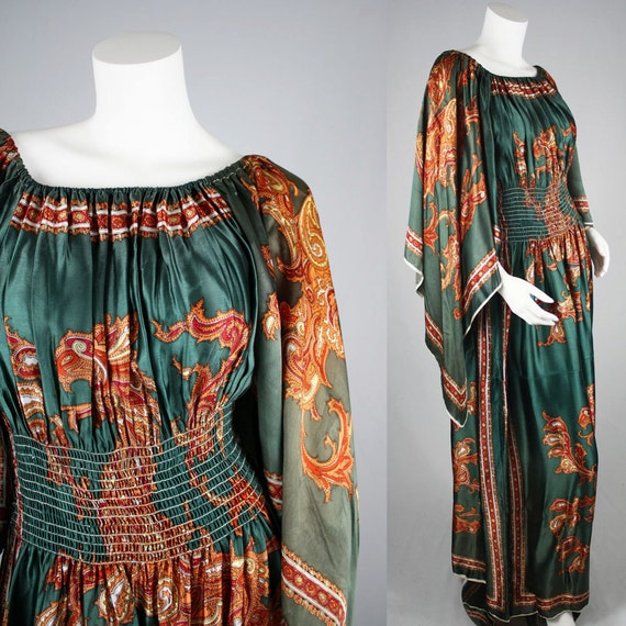 70's Vintage Bohemian Paisley Satin Scarf Maxi Dress