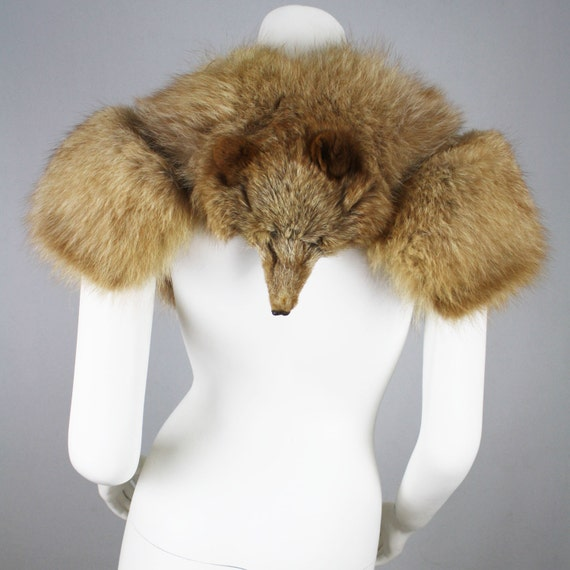 30's/40's Vintage Glam Genuine Fox Shrug with Face