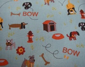 one meter of Max and whiskers fabric by Moda in blue