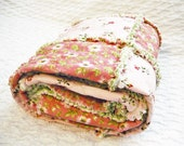 Rag Quilt,  Rose, Lap Quilt, Dusty Rose, Pink, Green, Handmade