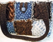 Vintage Chenille Rag Quilt Purse Tote, Brown and Blue, Rare Brown Chenille, Handmade