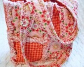 Rag Quilt Tote for Girl, Red Gingham, Red, Pink, Handmade, Girl Handbag, Pink Girl Tote, Pink Child Purse