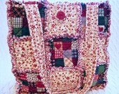 Rag Quilt Tote, Country Patchwork and Flowers, Handmade Bag, Red, Blue