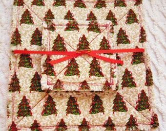 Rag Quilt Candle Mat and Coaster Set - Christmas Trees - Red, Green - Handmade