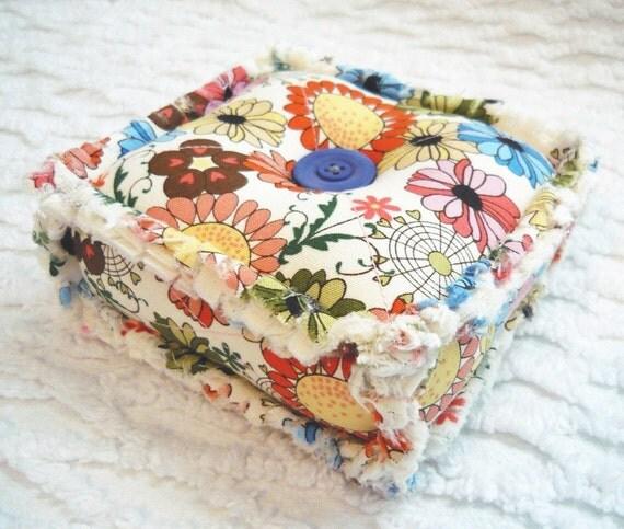 Multicolor Flowers Rag Quilt Pincushion - Blue - Orange - Pink - Handmade