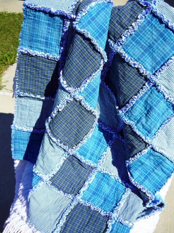 Plaid Baby Quilt: Handmade Cozy Blue Plaid And Gingham Lap Rag Quilt