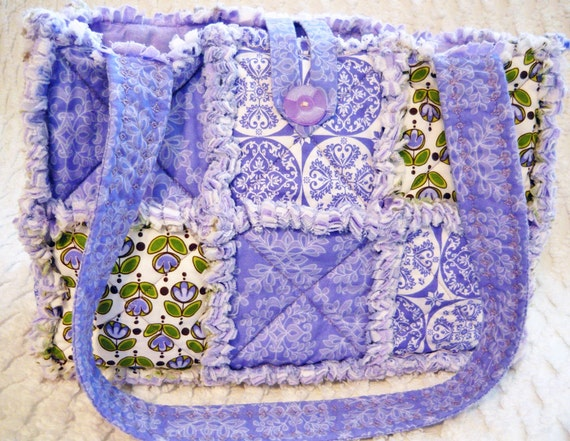 Cyber Monday Sale - Rag Quilt Purse or Tote, Purple Tulips, Floral, Medallions, Handmade