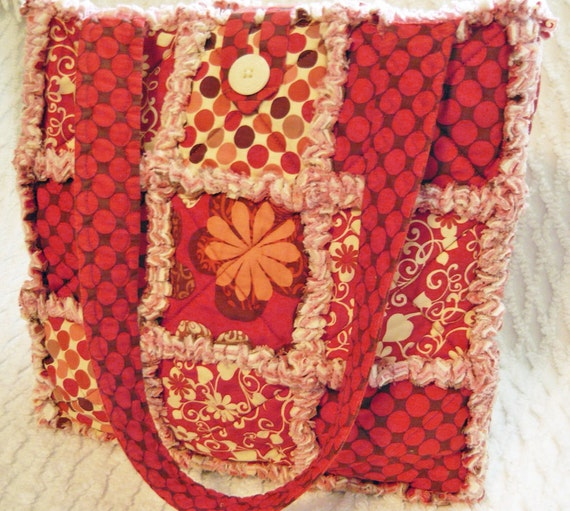 Rust Dots and Floral Rag Quilt Tote, Handmade