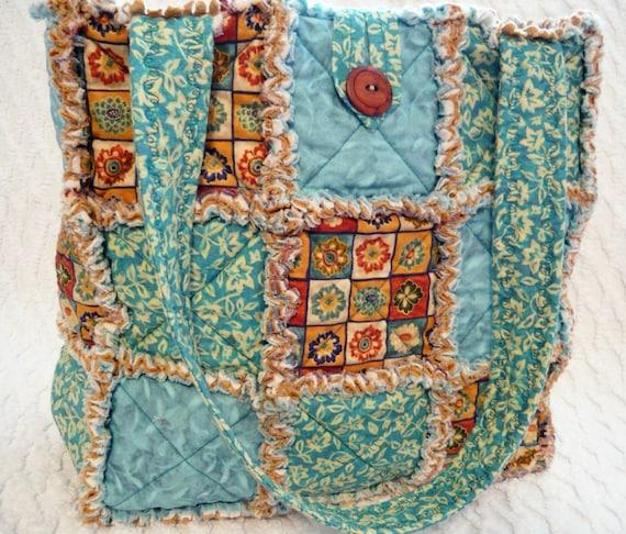Rag Quilt Tote, Floral Aqua, Brown, Handmade