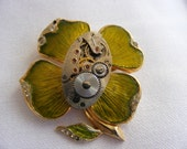 St Patrick's Day Lucky Steampunk - OOAK four clover brooch\/pin with vintage watch movement