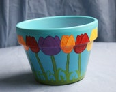 Reserved for LUNASTAR  Handpainted SPRING FLING into SUMMER Flowerpot Sooo very Pretty