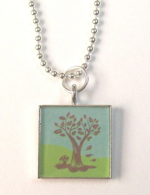 Blue and Green Tree Pendant and Ball Chain