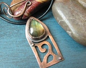 Labradorite Scrollwork Necklace Copper Leather Cord