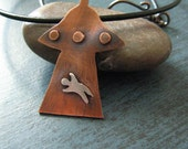 UFO Space Ship Necklace Alien Abduction Copper and Sterling Silver on Leather Cord