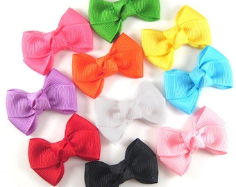 Baby Hair Bows - 10 popular solid colors -  snap clips - pink white apple orchid orange yellow red blue black hot pink