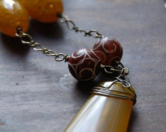 Necklace - Wire Wrapped -  Statement Necklace - Aged Agate