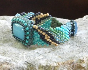 Free Form Peyote Stitch Beaded Bracelet Beaded Cuff Beaded Cabochon - Seaside - Discounted