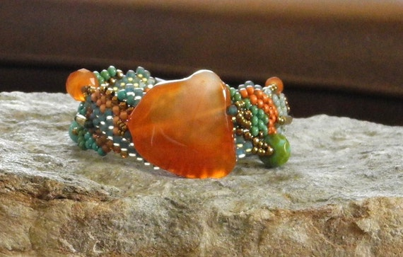 Free Form Peyote Stitch Beaded Bracelet - Angel Fire
