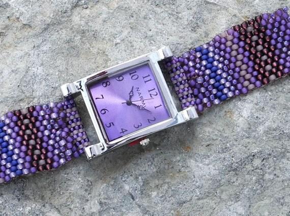Father Time Hypnotic Purple - Free Form Peyote Stitch Beaded Watch  Bracelet