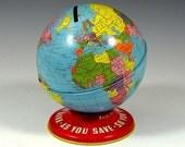 Vintage 1950s Ohio Art Globe Bank Toy Tin Litho