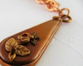 Copper Brown Gold Polymer Pendant Applique Teardrop