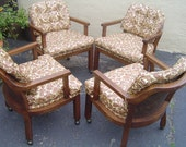 Set of 4 Vintage 1960s Cane and Solid Wood Club Chairs with Naugahyde Back and Seat Cushions