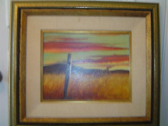 "Terry Pardue Wagon Acrylic Art Painting 24"" x 21"""