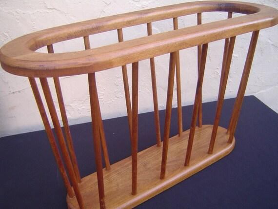 RESERVED 4 KATHY Vintage Mid Century Danish Modern Walnut Wood Oval Magazine Rack