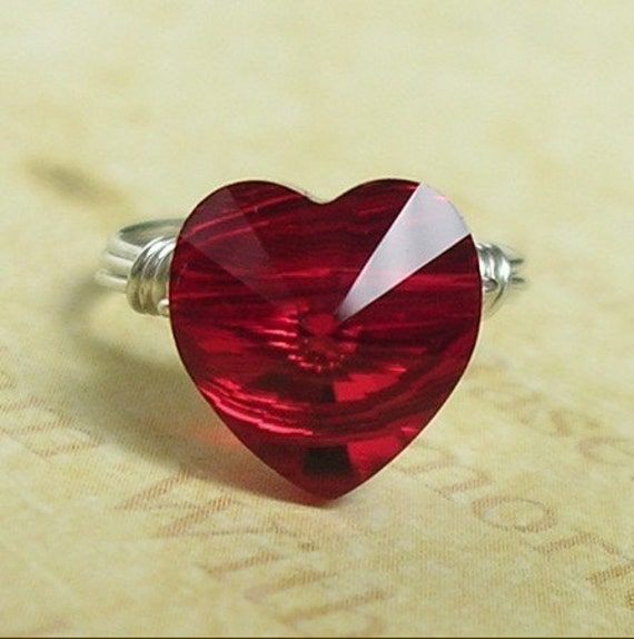 Red Heart Ring, Swarovski Heart Crystal Ring, 925 Sterling Silver Wire Wrapped, Custom Size