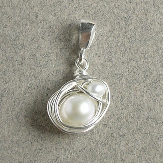 White Pearl Pendant, Mom And Baby, Sterling Silver Bird Nest Charm, Wire Wrapped Jewelry, Baby Shower Gift