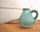 Vintage Art Pottery Vase Pitcher Green Signed Gotek Venezuela
