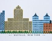 Buffalo skyline letterpress print