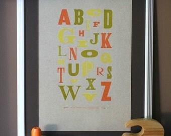 Letterpress ABC poster