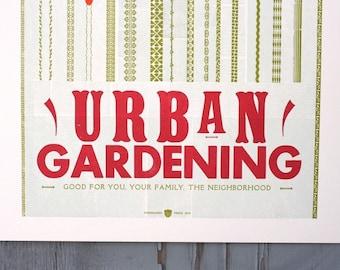 Urban Gardening letterpress WPA Poster