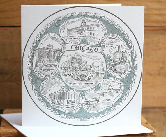 Vintage Chicago square letterpress card